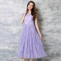 Seksi Hollow Out Vestido Lady Mor Dantel Pilili Elbise Kadın katı Aplikler Petal Kollu Elbiseler Artı Boyutu Yüksek Bel Elbise N618