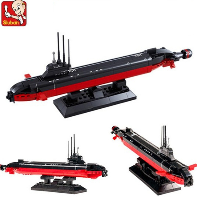 US $9 58 |Sluban 0391 193Pcs Nuclear Powered Submarine Army Navy Ballistic  Missile atomic SSBN action figure baby toys for children-in Blocks from