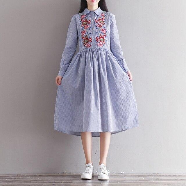 Spring Dress Полосатый Принт Хлопок Льняная Рубашка Dress Повседневная С Длинным Рукавом Вышивка Старинные Dress Плюс Размер Женской Одежды