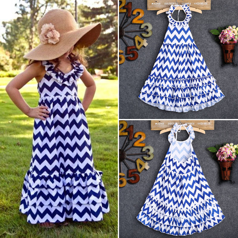 Aliexpress.com : Buy Summer Girl Dress wave Striped Kids long ...