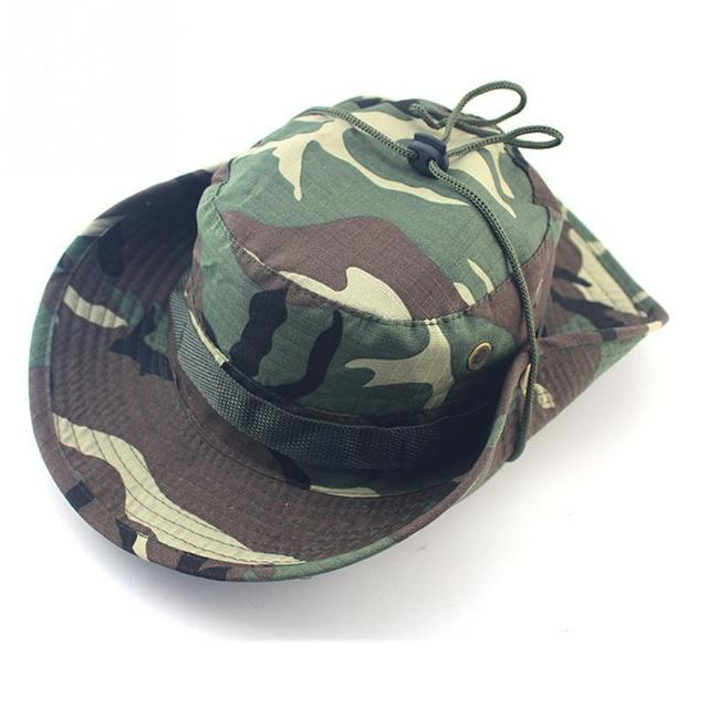f3ff9ca3d9 Unisex Bucket Boonie Hat With String Camouflage Nepalese Cap Fisherman Hat  Military Camouflage Jungle Hat