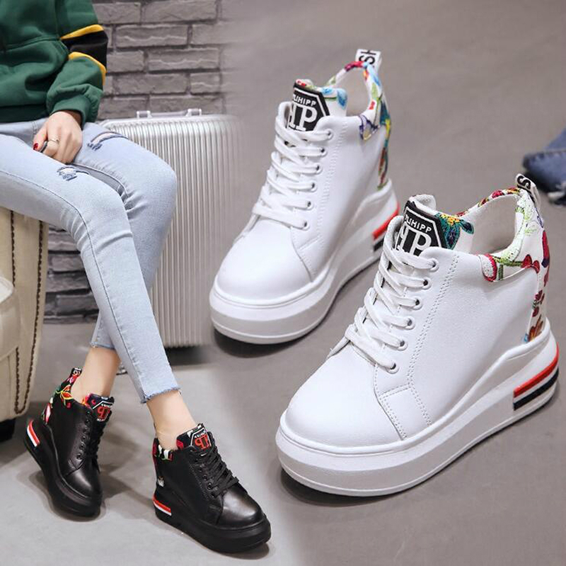 WGZNYN Summer Women High Platform Shoes Height Increasing Ladies Sneakers Spring Trainers Pu Leather Shoes woman Casual Shoe W55 5