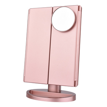 22 LED Touch Screen Makeup Mirror 1X 2X 3X 10X  Magnifying Mirrors 4 in 1 Tri-Folded  Desktop Mirror Lights Health Beauty Tool 2