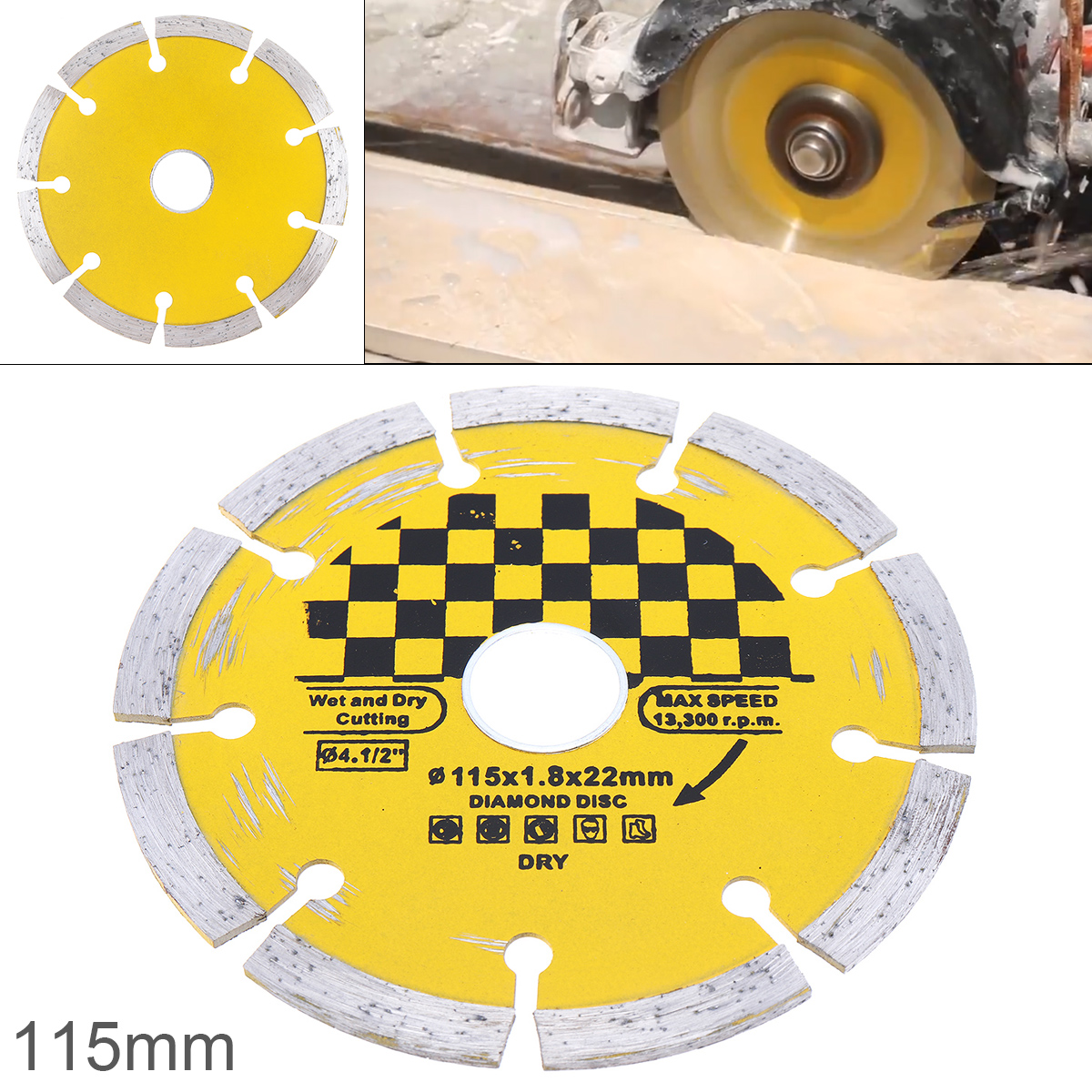 1pcs 115mm Dry Slotted And Broken Walls Circular Saw Blade Marble Stone Cutting Blade Coagulated Stone Dry Cutting Disc