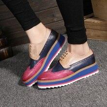 Yinzo النساء الشقق أكسفورد أحذية امرأة جلد طبيعي منصة أحذية رياضية سيدة البروغ خمر حذاء كاجوال ل احذية نسائية 2020