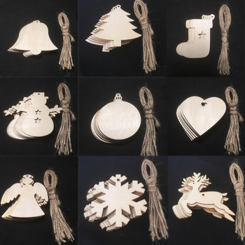 DIY Christmas Snowflakes Deer 10PCS/Lot Tree Xmas Tree Ornaments Christmas Party Decorations Ornaments Wooden Pendants image
