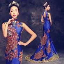 Luxury Blue Red Embroidered Chinese Evening Dress Long Cheongsam Bride Wedding Qipao Mermaid Host Dresses Oriental Qi Pao
