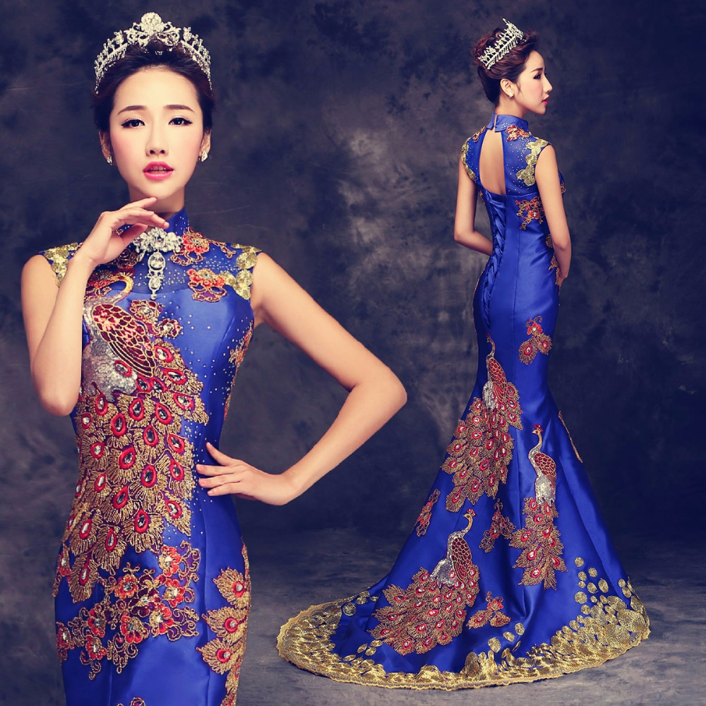 Luxury Blue Red Embroidered Chinese Evening Dress Long Cheongsam Bride Wedding Qipao Mermaid Host Dresses Oriental Qi Pao