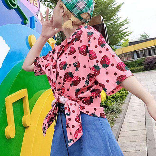 2019 New Women Blouses Holiday Casual Short Sleeve Tops Ladies Strawberry Printed Shirt Korean Summer Fashion Women Clothing 16