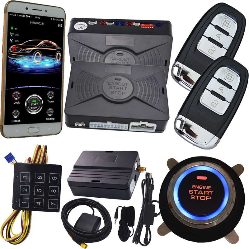 NEW app gps PKE car alarm system push button start remote engine start stop auto passive
