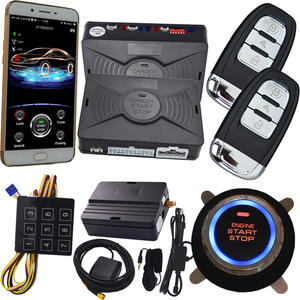 NEW app gps PKE car alarm system push button start remote engine start stop auto passive keyless entry kit touch password keypad