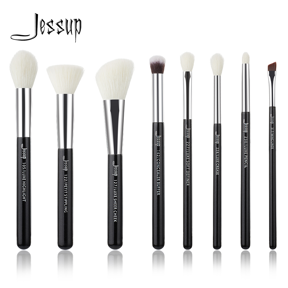 Jessup Brand Black/Silver Professional Makeup Brushes Set Make up Brush Tools kit Foundation Stippling natural-synthetic hair jessup rose gold black professional makeup brushes set make up brush tools kit foundation powder brushes natural synthetic hair