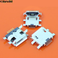 cltgxdd 10pcs Micro USB Jack Connector Female 7Pin long pins with Edge Crul Charging Socket , 7 pin 4 feet for Mobile Phone