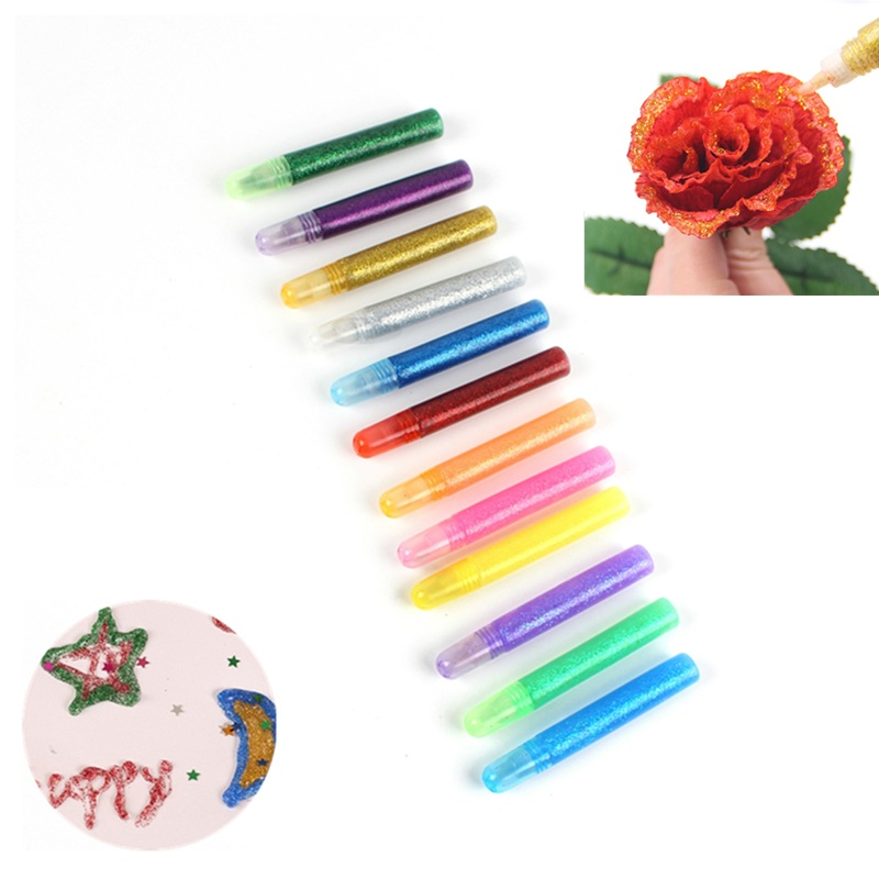 12pcs Color Glitter Powder Adhesive Child Paper Crafts Drawing Phone Case DIY Child Art Painting Super Liquid Nail Gel Glue Pen