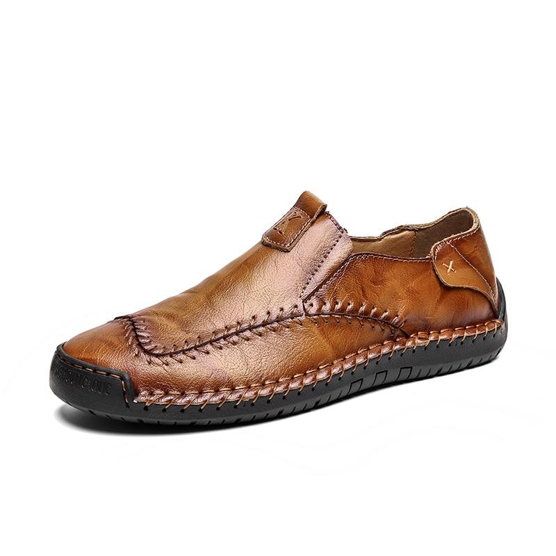 VANCAT 2018 New Comfortable Big Size 38-46 Casual Shoes Loafers Men Shoes Quality Split Leather Shoes Men Flats Moccasins Shoes,New