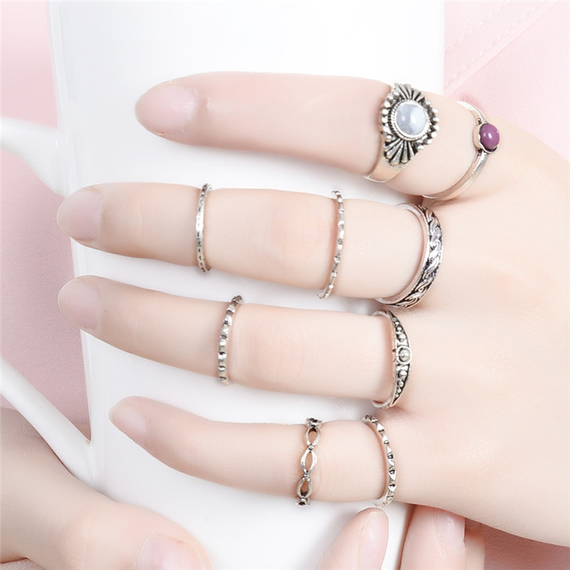 Cheap 9 Pcs/Set Pinksee Crystal Finger Rings Antique Silver Color Women Hand Knuckle Jewelry Accessory Wholesale 2017 Party Gift