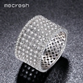 Mecresh New Finger Ring For Women Pave 13mm Clear Micro CZ Round Rhodium Plated Party Aneis Feminino Wedding Jewelry JZ022