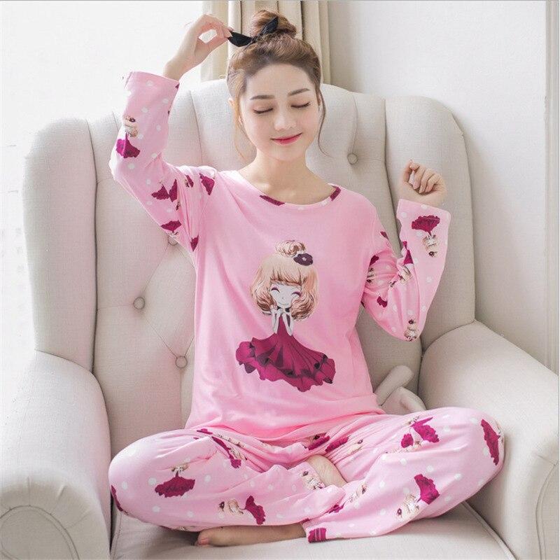 Womens Pajamas Sets Summer Cute Cartoon Pajama Sets Women Tee And Pants Sleepwear Spring Drawstring Casual Pajama Sets