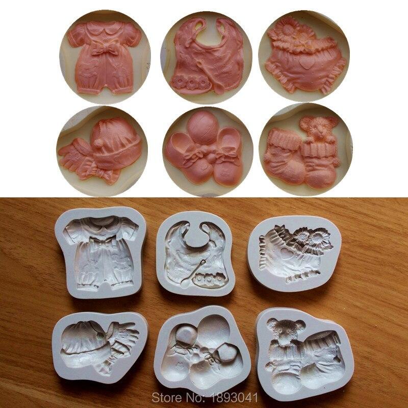 6 pièces mignon bébé conception gâteau moules pour décorations, Silicone moule Fondant 3D moules Sugarcraft outils cuisine accessoires SQ16286