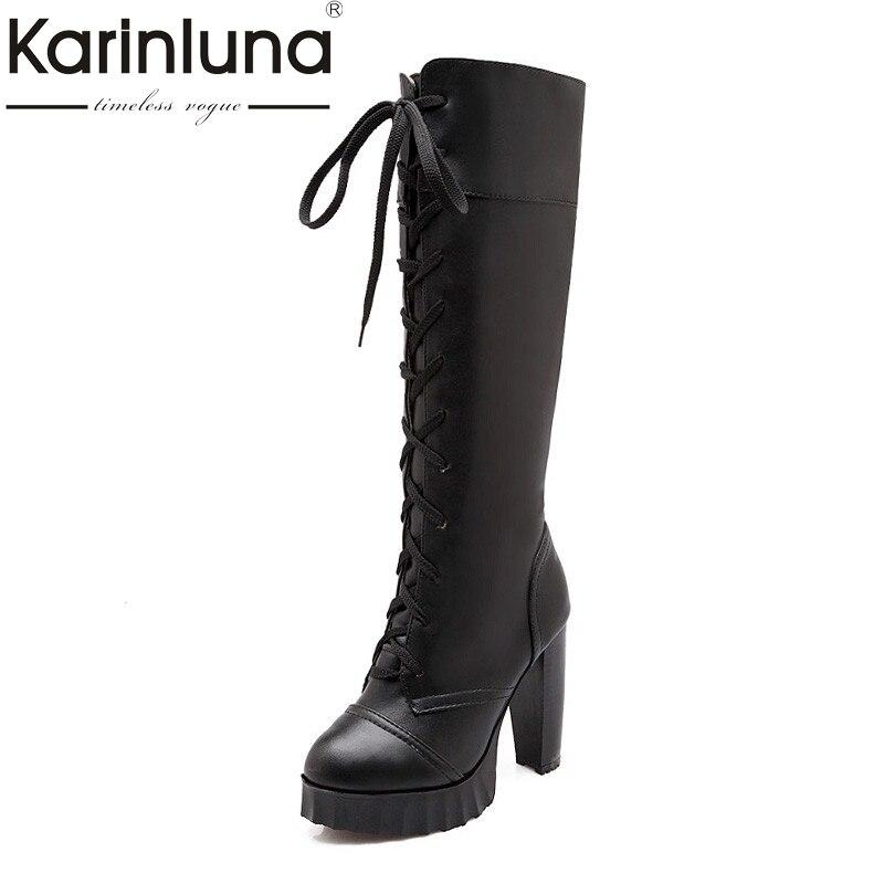 где купить KARINLUNA 2017 Big Size 33-43 Platform Add Fur Women Shoes Woman Fashion High Heel Lace Up Black White Winter Party Boots по лучшей цене