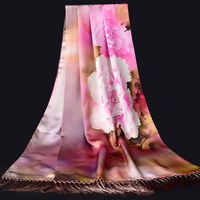 Ladies Real Silk Scarf Women 100% Pure Silk Shawls and Wraps for Women Flower Tassel Natural Scarf Silk Hijabs Head Scarves