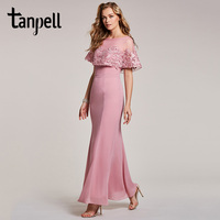 Tanpell mermaid evening dress pink bateau neck half sleeves floor length gown women appliques long party formal evening dresses