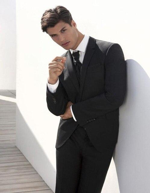 2018 Dark Grey Suit Mens Wedding Suits Notched Lapel Mens Wedding ...