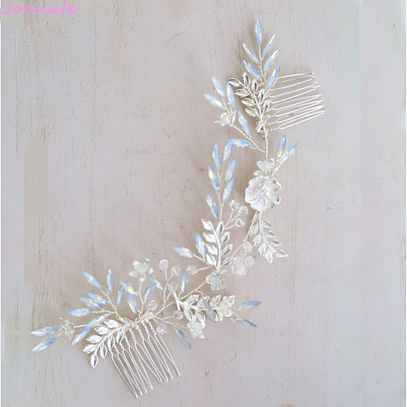 Jonnafe New Design Crystal Bridal Silver Long Hair Comb Wome