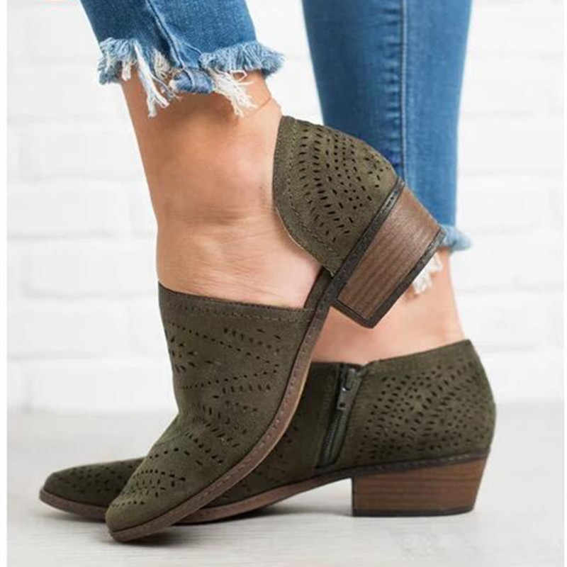 European Summer Hollow Breathable Zip Casual Shoes Lady Round Toe Plaform Ankle Boots Design Flat Heel Women's Martin Boots