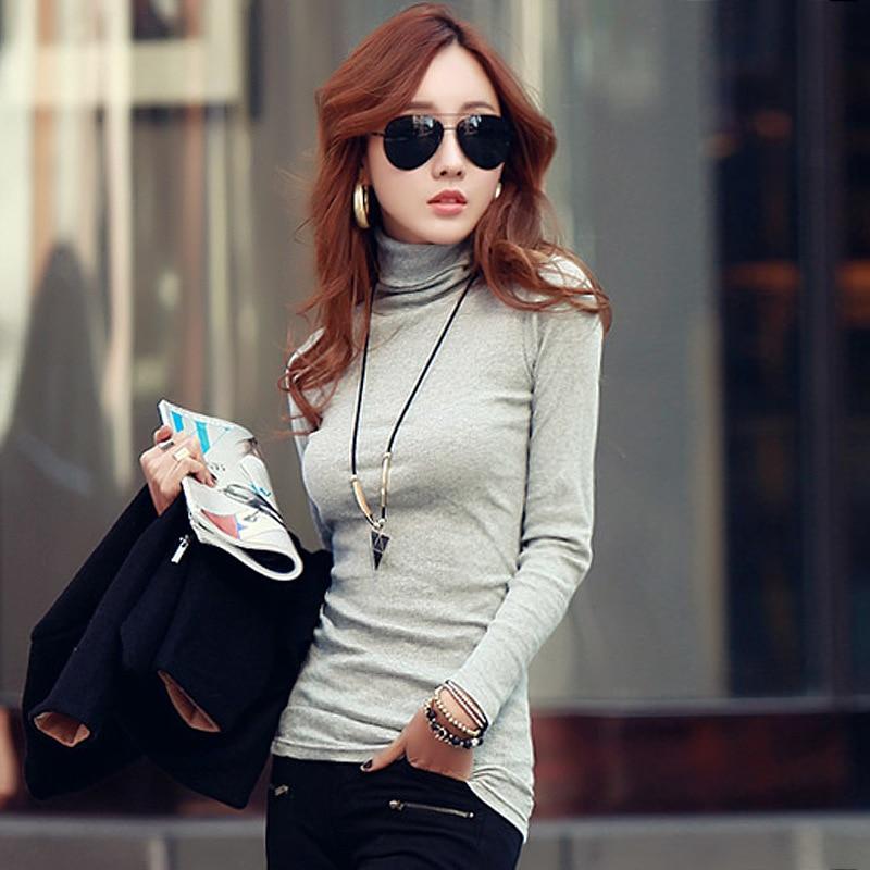 Musim dingin Musim Gugur New Fashion Turtleneck Tops Katun Lengan - Pakaian Wanita - Foto 1