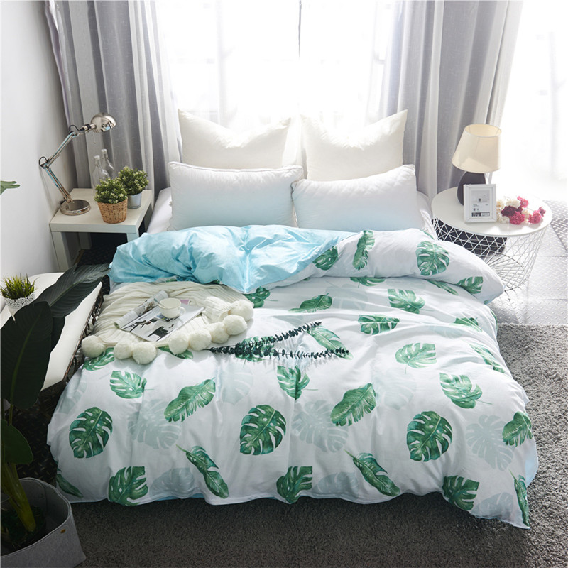 Home Textile Tree Leaf Printed Duvet Cover 1pcs Pastoral Quilt Cover for Adult/kids Twin Full Queen King Size Bed Set Bedclothes