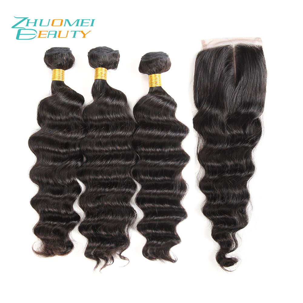 Zhuomei BEAUTY Indian Hair Weave Bundles Loose Deep Wave 3 Bundles With 4*4 Swiss Lace Closure Remy Human Hair Bundles 8-28inch