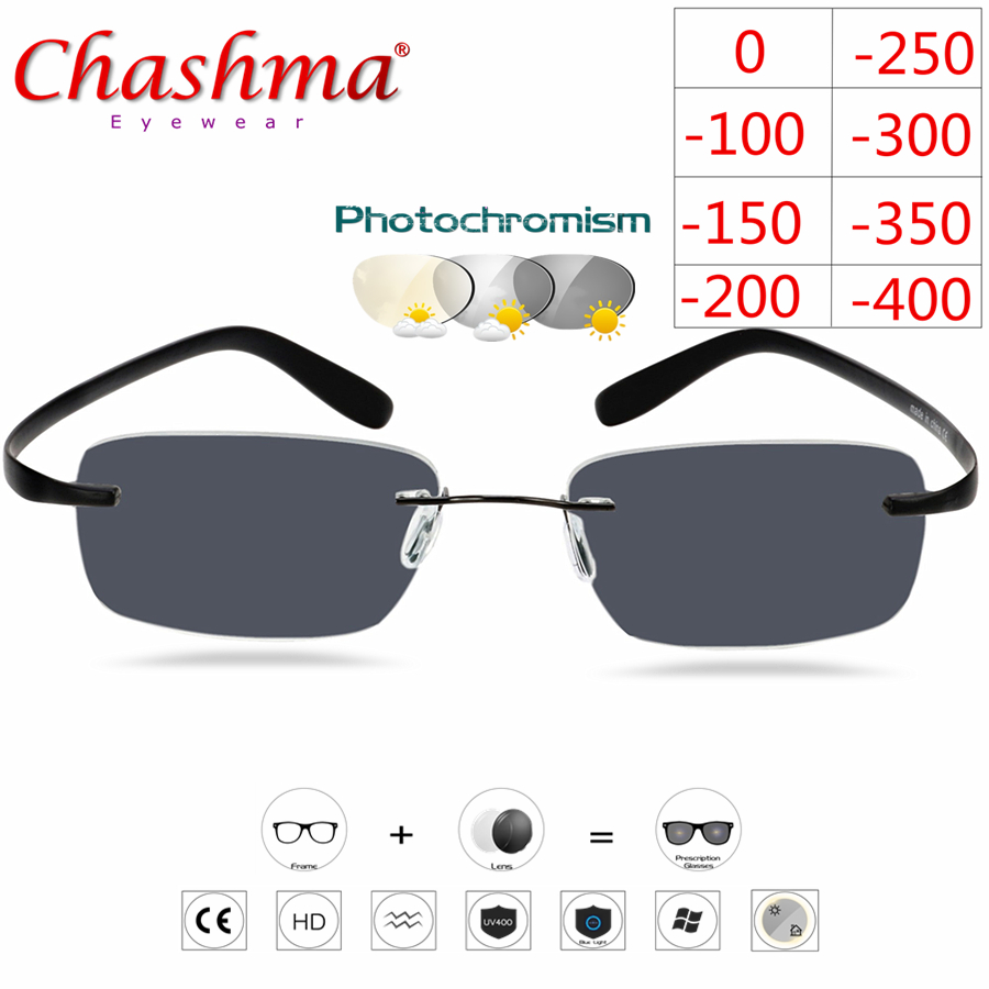 Titanium Rimless Glasses Myopia Glasses Photochromic Glasses Men Women Chameleon Glasses Lens With Diopters -1.0 1.5 2.0 2.5 3.0