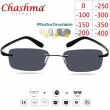 טיטניום ללא שפה משקפיים קוצר ראיה משקפיים Photochromic משקפיים גברים נשים זיקית משקפיים עדשה עם דיופטריות 1.0 1.5 2.0 2.5 3.0