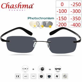Titanium Rimless Glasses Myopia Glasses Photochromic glasses Men Women Chameleon Glasses Lens with Diopters -1.0 1.5 2.0 2.5 3.0 фото