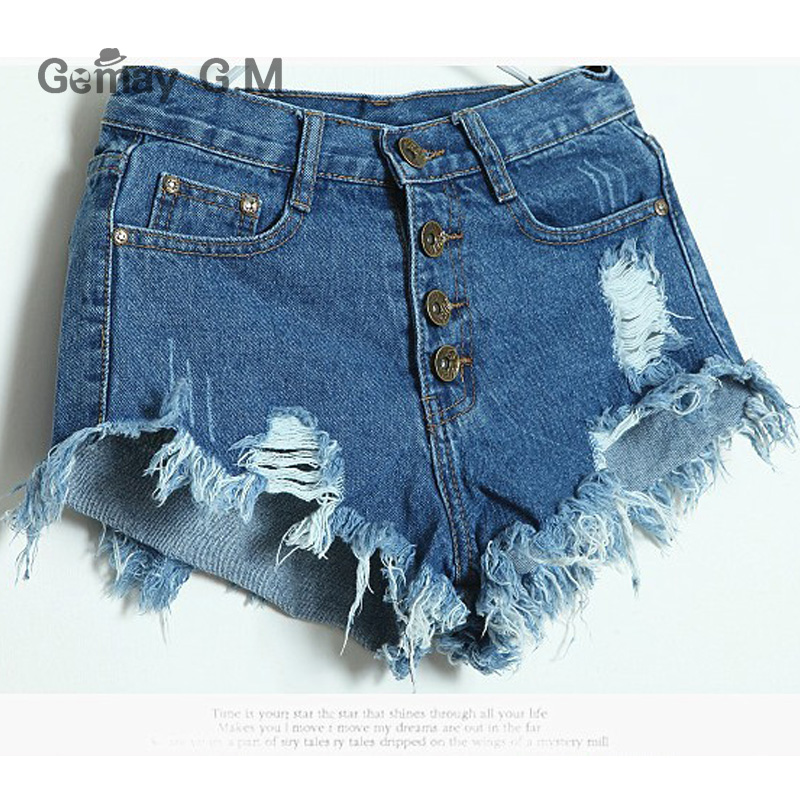 New Women Jeans Shorts Pants Woman High Waist Ripped Hole Wash Denim Shorts White Sexy  Casual Fashion Short Summer Trouser new white high waist jeans women