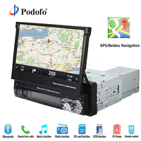 Podofo Car Radio GPS Navigation Car Stereo Bluetooth Autoradio 1 din DVD Player 7 HD Retractable Touch Screen Rear View Camera