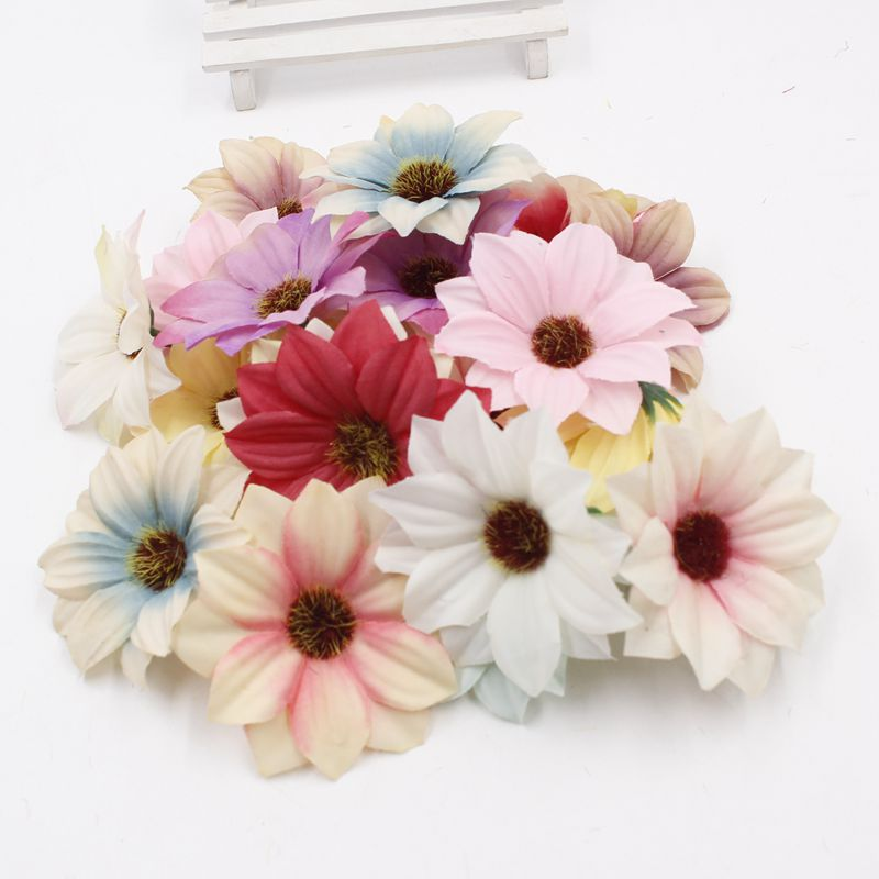 Silk cloth Artifical chrysanthemum flowers head fresh seaside holiday wreath material simulation Fake flower 3pcs 6cm