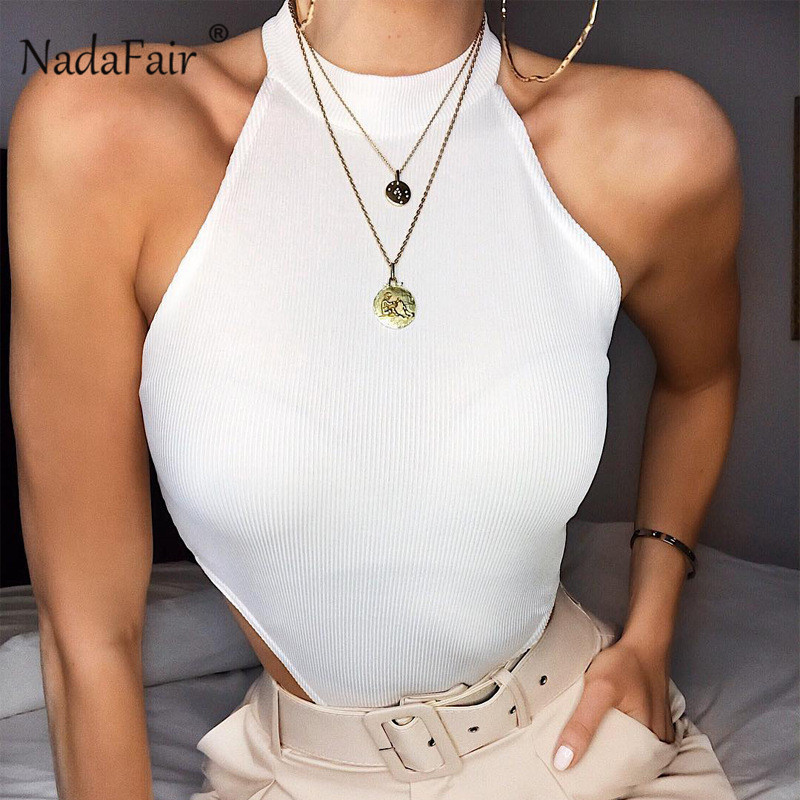 Nadafair White Ribbed Knitted Sexy Bodysuit Women 2019 Club Party Summer Romper Jumpsuit Sleeveless Halter Tank Body Female