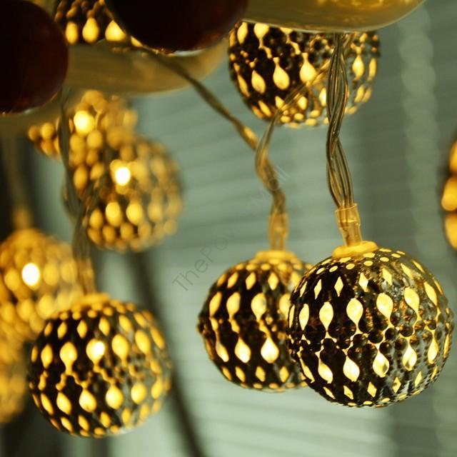 20 leds heldere kabel 3m kerst zilveren filigraan metalen ronde ...
