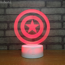 Captain America Shield Shape 3D Table Lamp Touch Control 7 Colors Changing Acrylic Night Light USB Decorative Kids Toys Gifts