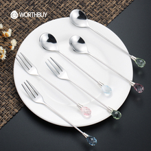 WORTHBUY Creative Luxurious Diamond Fruit Fork Stainless Steel Salad Dessert Fork For Restaurant Food Picks Bento Accessories