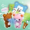 Envío gratis por federal express 100 unids/lote venta al por mayor 3D feliz oso de peluche llavero LED promoción llavero con el sonido