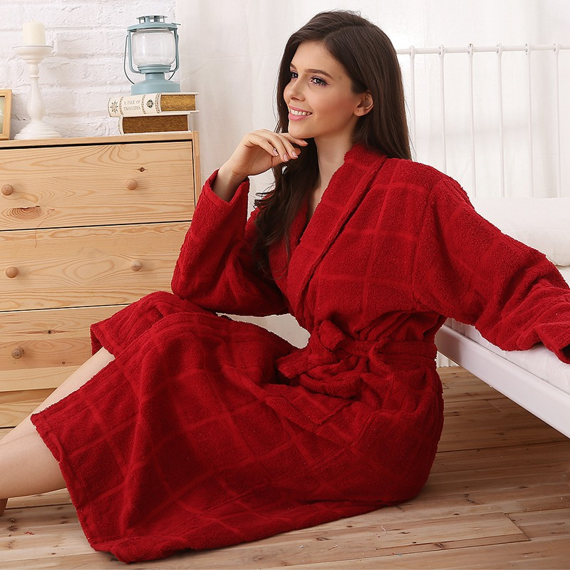 Cotton Bathrobe Men Pajamas  XXL Women Sleepwear Nightgown Thicken Long Soft Towel Fleece Loves Autumn Winer Red Blue