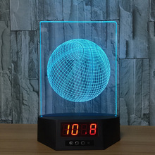 Basketball 3d Lamp Remote Clock Night Light Usb Led Touch Nightlight 7 Colors Changing Acrylic For Children Gift Toys Room Lamp