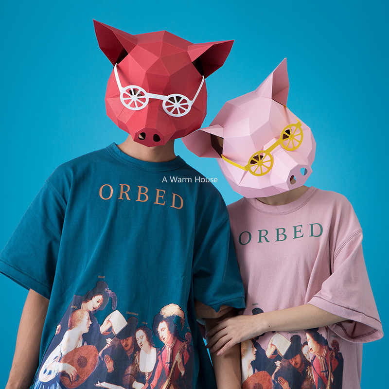 Pig Head Mask Halloween DIY 3D Paper Masks Party Masquerade Cosplay Animal Costume Adult Creative Masque Stencil Carnaval Maske