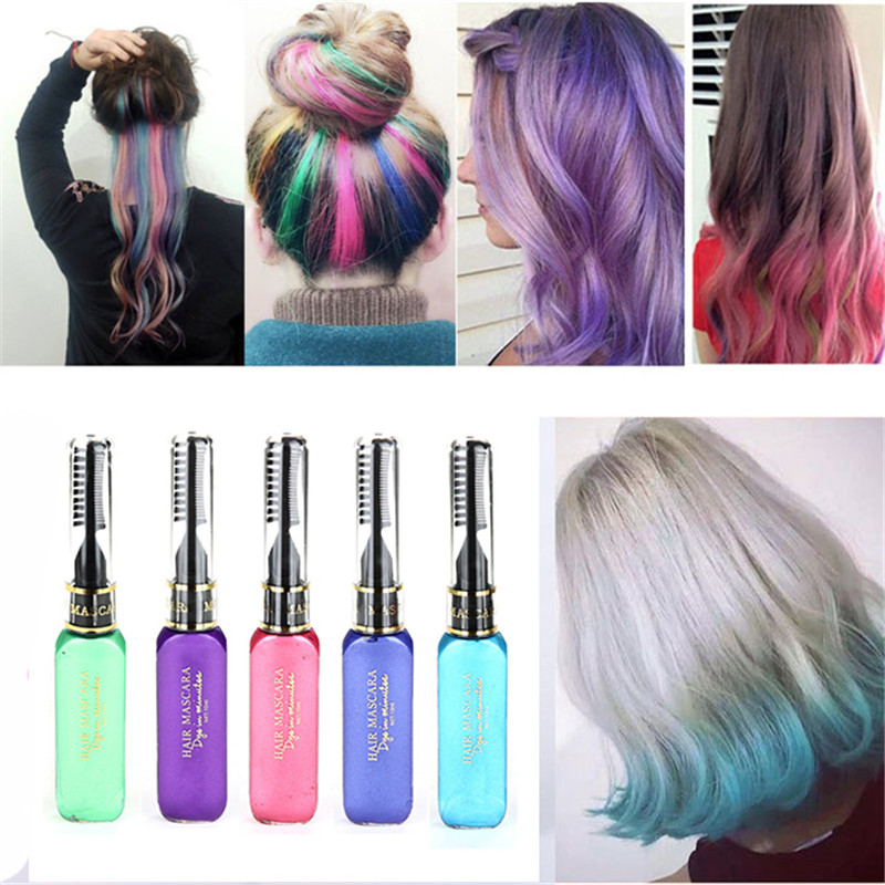 New 8 Colors One-time Hair Color Hair Dye Temporary Non-toxic DIY Hair Color Waterproof Mascara Dye Cream Blue Grey Purple 1pc