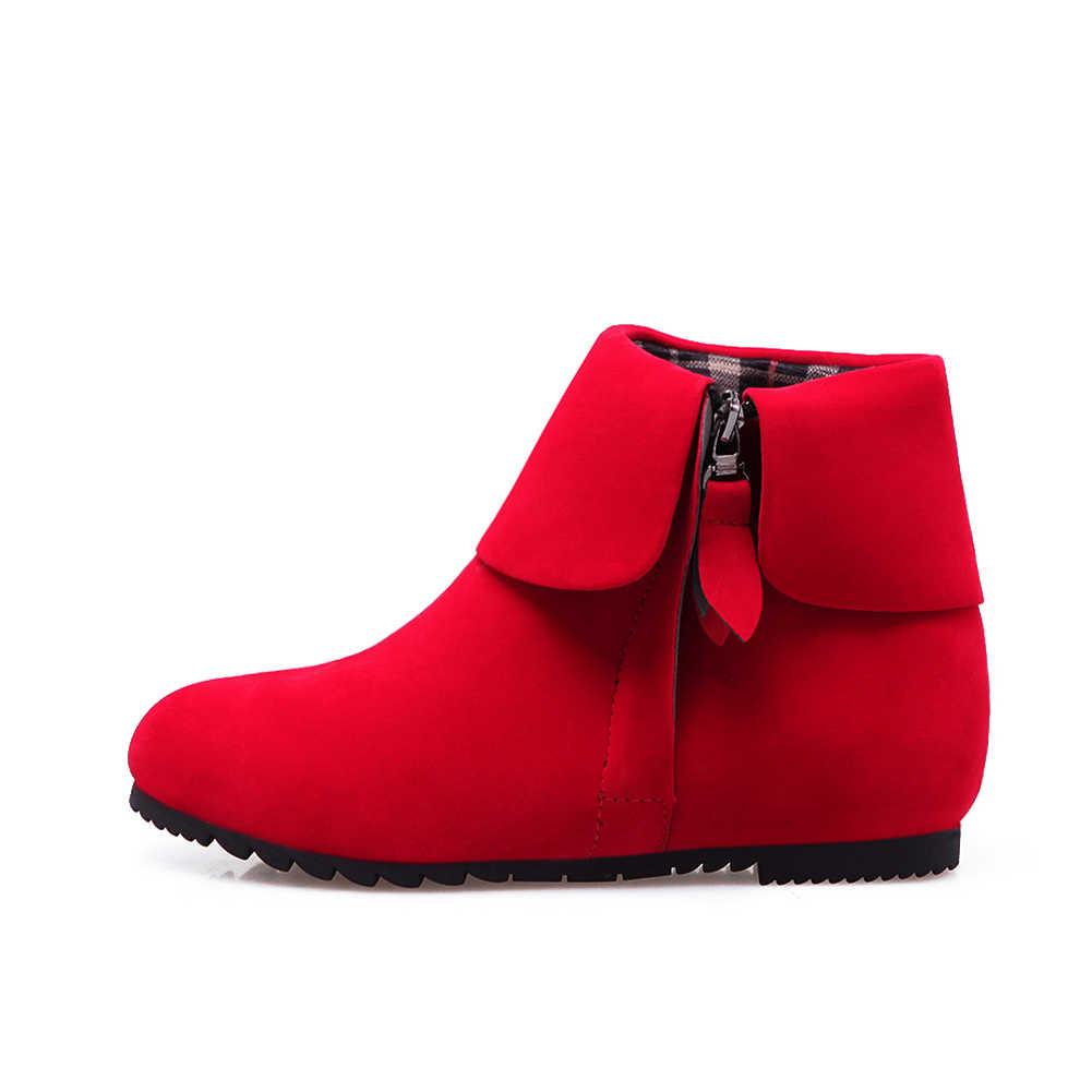 BONJOMARISA 2019 Ilkbahar Sonbahar Artı Boyutu 34-44 Kadın Moda yarım çizmeler çeviklik Kenar Zarif Yüksekliği Artan Ayakkabı kadın