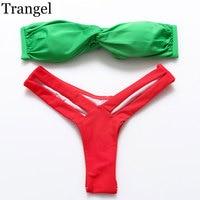 Bikini Set Swimsuit Cut Out Swimwear Triangle Bathing Suit Twist Bandeau Buckle Thong Bikini 2015 Swim