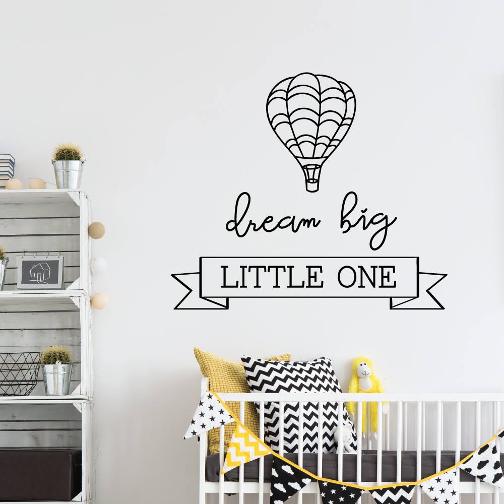 Hot Air Balloon Wall Sticker Removable Vinyl Wall Mural Nursery Kids Bedroom Decor Dream Big Little One Quote Wallpaper AY1357 in Wall Stickers from Home Garden